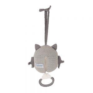 Häkel-Spieluhr Eule LUNO (grau) von Hinten