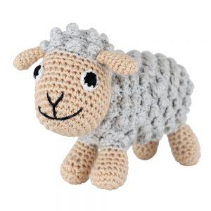 Gehäkeltes Schaf-Kuscheltier mit Rassel (grau)