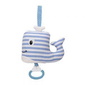 Walfisch mit Spieluhr (blau-weiß gestreift)