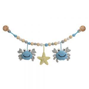 Kinderwagenkette Krabbe PINCER (blau), gehäkelt, mit Befestigungsclips