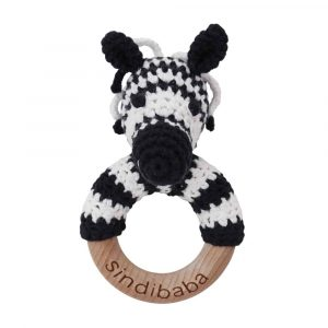 Crocheted Grasp Ring Toy w/ ZEBRA STRIPEY | 12472