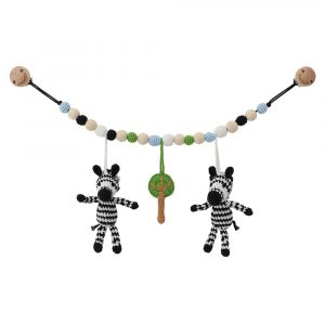 Handmade crochet stroller chain with zebras | 12475