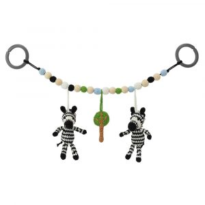Stroller Chain ZEBRA STRIPEY, handmade crochet from organic cotton | 12476