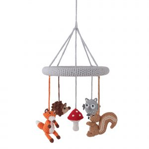 Crochet Baby Mobile with FOREST ANIMALS Hedgehog, Owl, Fox and Squirrel | handmade by SindiBaba
